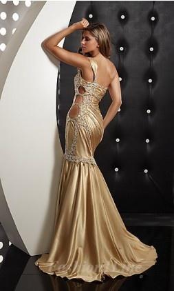 champagne colour evening dress
