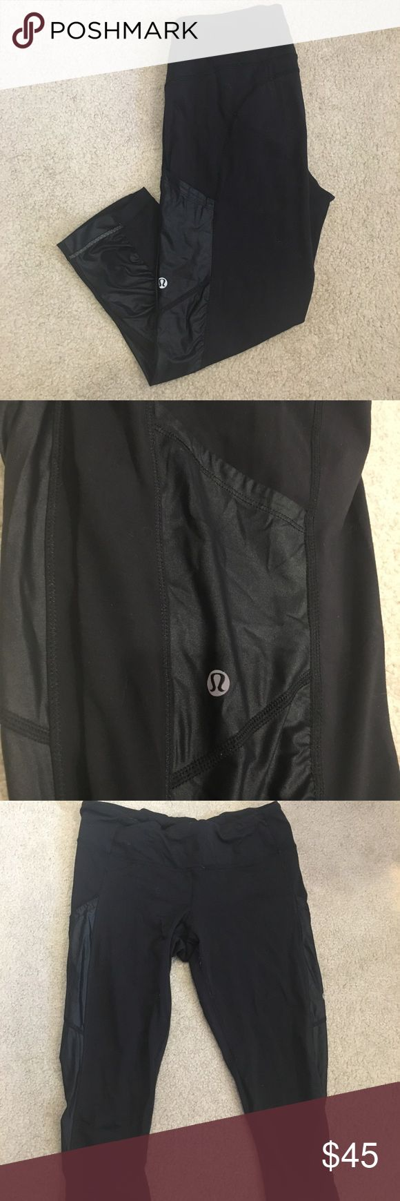 """Lululemon Black Capri Leggings with pockets! Very good condition.  Size 8 in Lululemon  I'm 5.3"""" and they go a little lower than my knees Pockets on the sides are really useful!   Just trying to clean out my closet because I have way too many gym clothes. Smoke-free home. lululemon athletica Pants Leggings"""