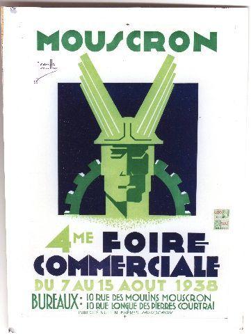 Nuttin - Mouscron 4e Foire Commerciale - 1938 vintage poster