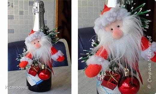 Мастер-класс Поделка изделие Новый год Моделирование конструирование Украшения на бутылку или магнитик Капрон Ленты Мех фото 1