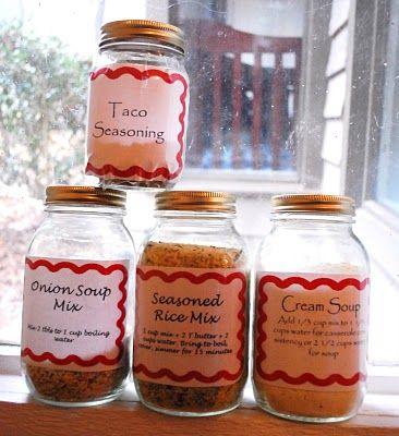 Homemade Mixes: Cream Soup, Seasoned Rice, Onion Soup, Taco seasoning  .