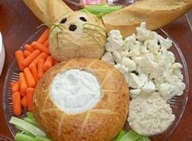 Easter Bunny veggie tray. I'd consider it as a bread bowl for