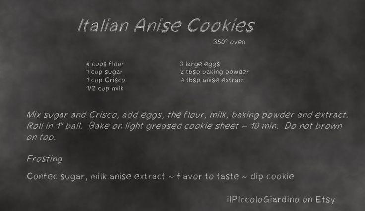 Old New England Recipes: Italian Anise Cookies Recipe