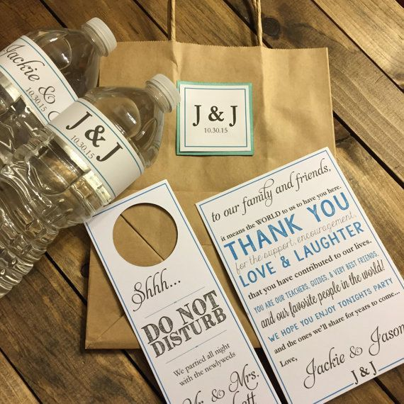 Wedding Welcome Bag Kit Hotel Taschen Angepasst Wasserflaschenetiketten Willkommensgruss Hochzeitstasche Hochzeitsgeschenk Tasche Wasserflaschenetiketten