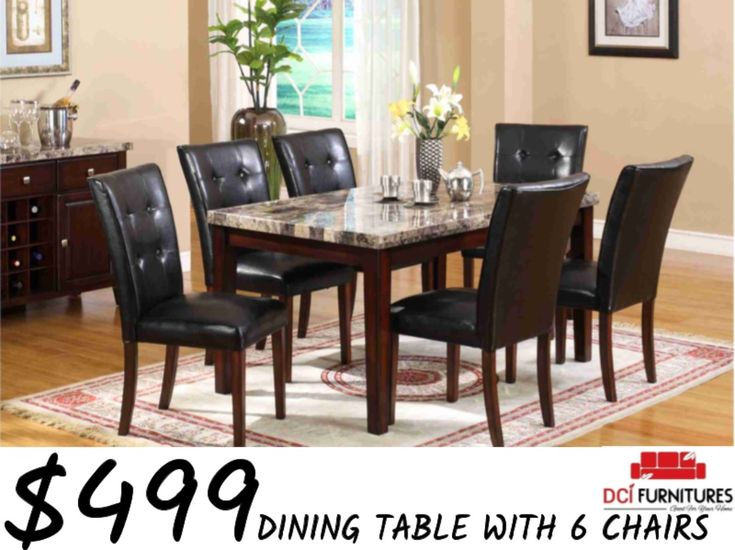 Marble top dining table with black leather chairs period on sale for $499 for this week only