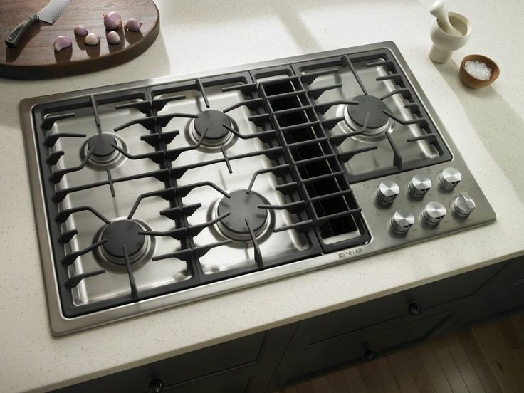 Stove Ventilation Systems : Jenn air kitchen with stainless steel gas cooktop