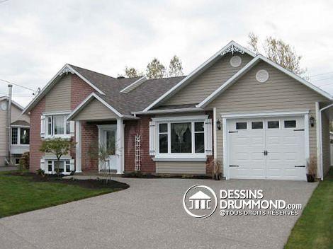 Ajout d'un garage à une maison existente, plan de rénovation réalisé par Dessins Drummond