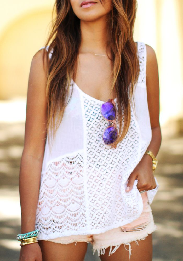 summer outfit- casual/comfortable; Pretty outfit, love the cute tank with shorts! It looks effortless
