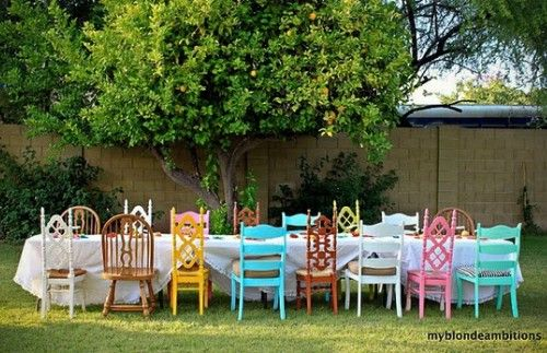 painted, mismatched chairs: Mismatched Chairs, Backyards Parties, Alice In Wonderland, Colors, Outdoor Parties, Parties Ideas, Gardens Parties, Painting Chairs, Old Chairs