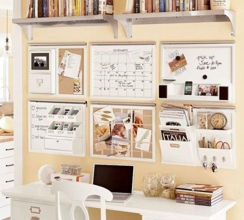 Organized Office. The shelves and the items on the wall would help staying organized.