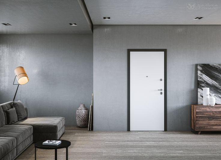 Render di un interno realizzato per la brouchure dell'azienda di porte blindate Mister Shut. Il modello rappresentato si chiama Avant.