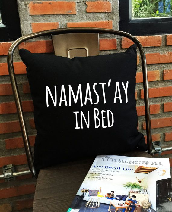 Namastay In Bed Throw Pillow cover Yoga Bedroom by Lessssismoreee