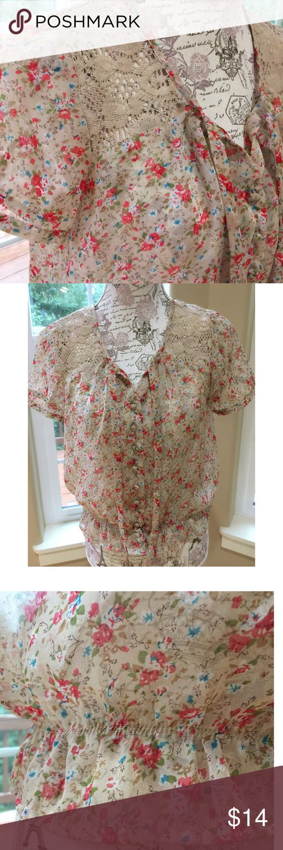 XXI Floral Chiffon & Lace Crop Top S In excellent pre owned condition. Absolutely no flaws. Somewhat sheer. Definitely needs a bralette or Cami underneath. Small Forever 21 Tops Crop Tops