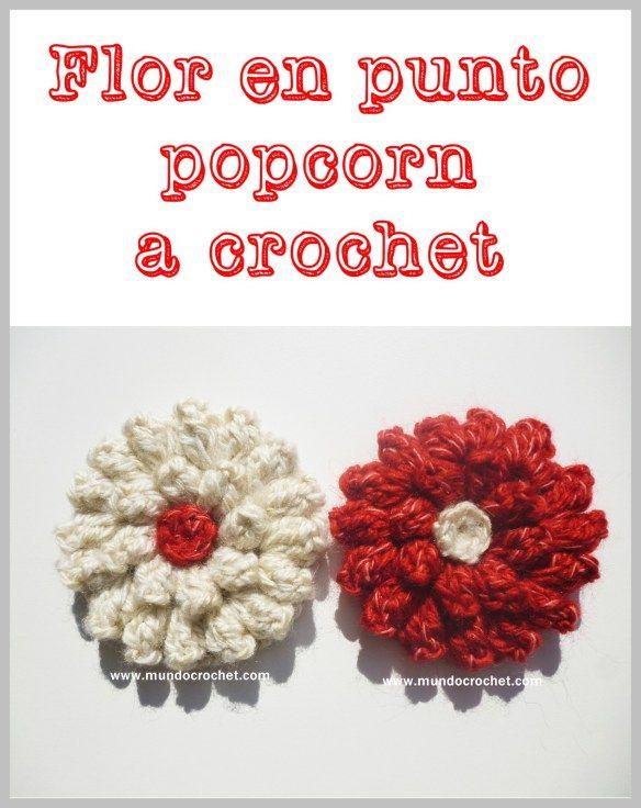 Patron flor en punto popcorn a crochet o ganchillo | Tejido ...