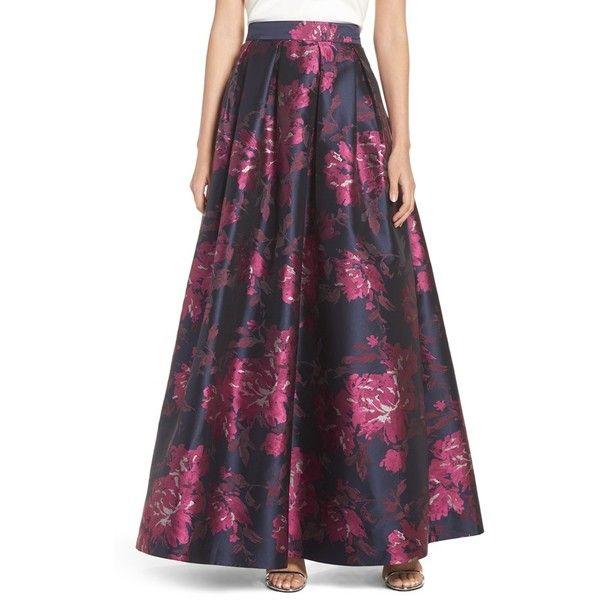 Women's Eliza J Metallic Jacquard Ball Skirt ($208) ❤ liked on Polyvore featuring skirts, fuschia combo, floral maxi skirt, flared skirt, high-waisted maxi skirts, high waist skirt and high waisted floral maxi skirt