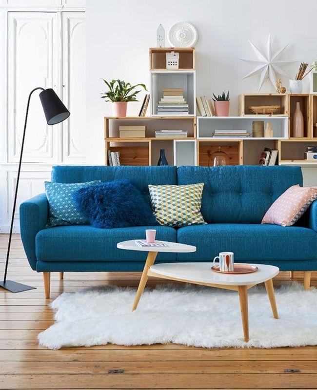 Un Canape Bleu Canard Pour Mon Salon My Blog Deco En 2020 Deco Salon Blanc Idees De Decor Tapis Salon