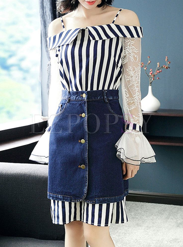 Shop for high quality Striped Splicing Lace Top & Wash Denim Skirt online at cheap prices and discover fashion at Ezpopsy.com