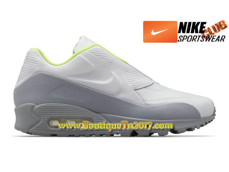 NikeLab x Sacai Air Max 90 Chaussures Nike Basket Pas Cher Pour Homme Blanc/Gris 804550-110H