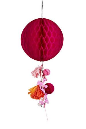 Cerise honeycomb ball decoration - Poppies for Grace