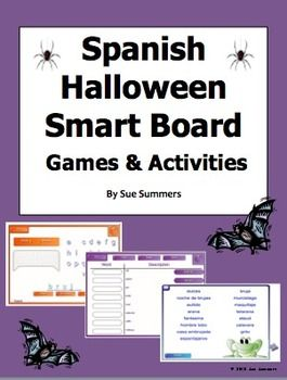 Spanish Halloween Smart Board 6 Games and Activities by Sue Summers