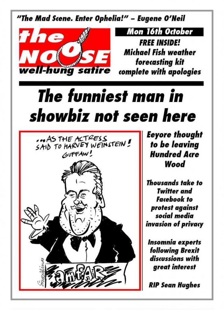 Satire and humour with cartoons & caricatures in the form of a satirical magazine cover produced by London cartoonist, caricaturist and writer Simon Ellinas