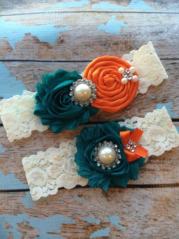 TEAL/ ORANGE  wedding garter set / bridal  garter/  lace garter / toss garter included /  wedding garter / vintage inspired