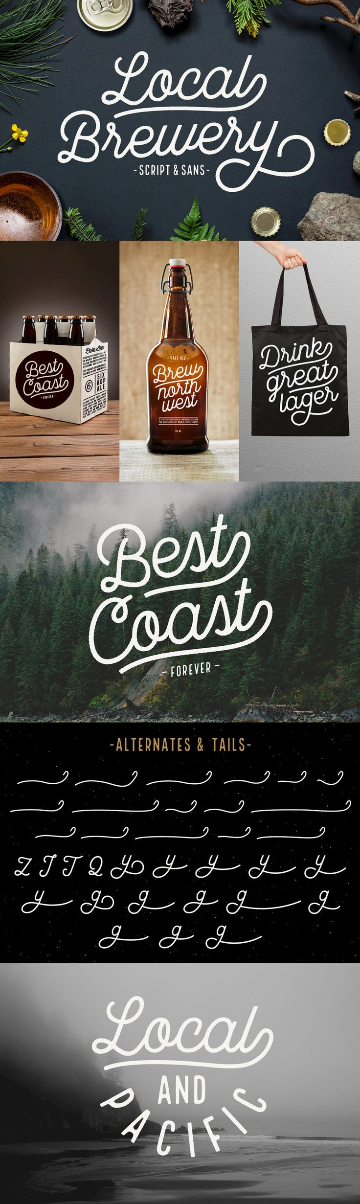 Local Brewery - Local Brewery is a vintage inspired font collection that includes six script styles and two...