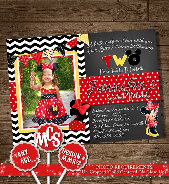 HUGE SELECTION Minnie Mouse Birthday Invitation, Photo Invitation, My Celebration Shoppe, Printable Invitation, Minnie Mouse, Minnie Party on Etsy, $9.00