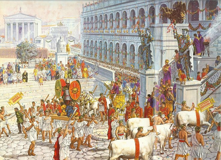 DOBLE PÁGINA CON ILUSTRACIONES DE CONOLLY  El triunfo romano fue un desfile militar, protagonizado por un comandante victorioso, que tras re...