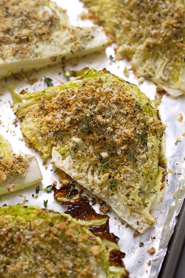 Roasted cabbage wedges seasoned with garlic, parmesan and spices—This is a wonderful, healthy side dish to accompany your grilled meats!