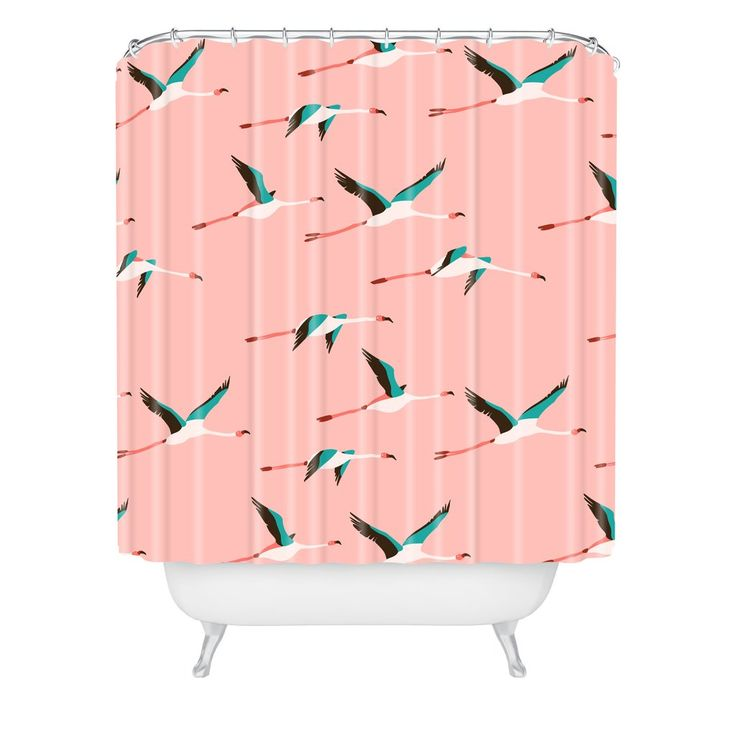 Holli Zollinger Flamingo Pink Shower Curtain | Deny Designs