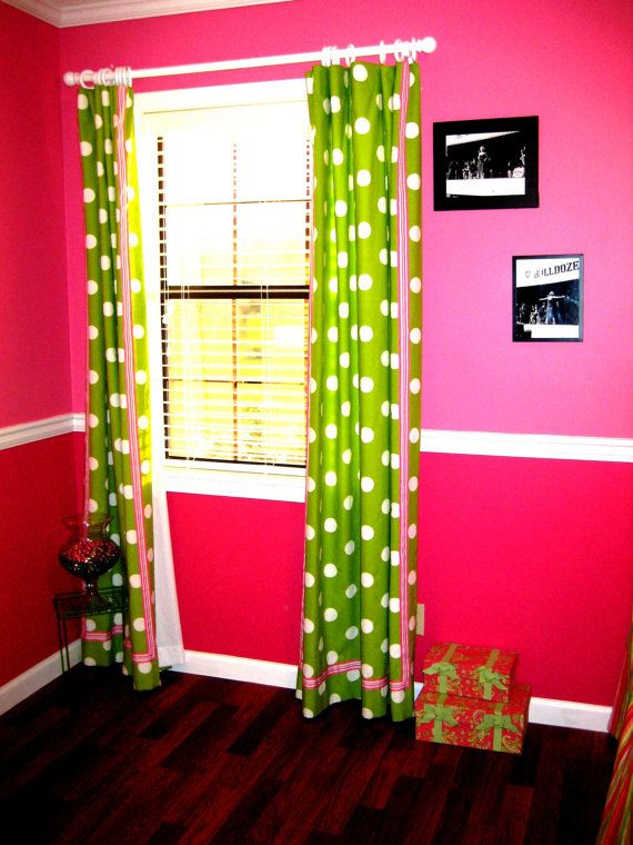 Pink And Green D For Windows Lime White Polka Dot Curtains Two House Rooms Pinterest Room