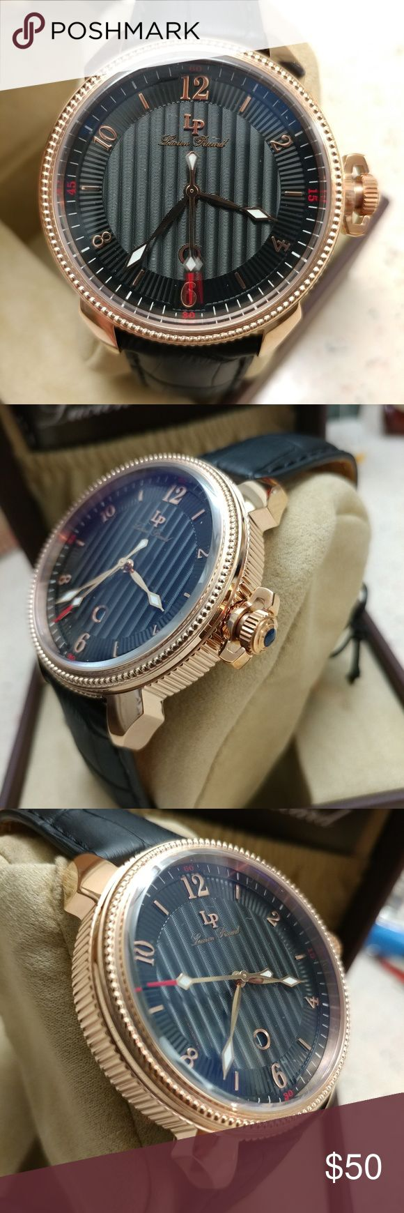 New Lucien Piccard Men's New Leather Quartz Comes with box Accessories Watches
