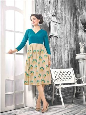 Grab the looks that inspire the people around wherever you go. Beautiful Peacock Green and Beige  color kurti only at xeroshop.com