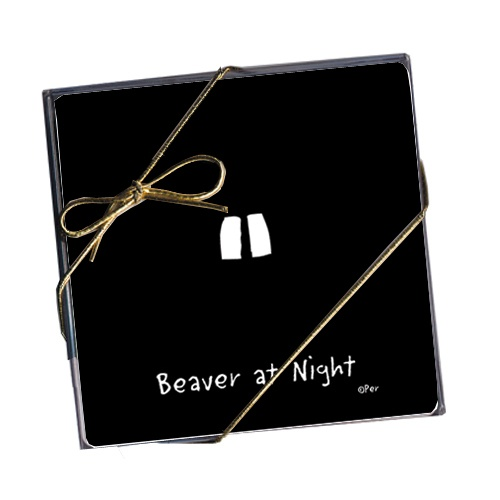 Set of 4 Coasters - Beaver at Night - Set of 4 coasters in clear gift box with ribbon. Made in Canada. $12.99