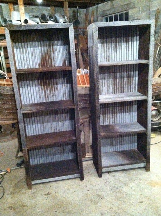 Barn wood and corrugated metal book shelves #barnwood #furniture Facebook.com/revivalwoodworks by Christine16