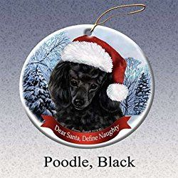 Poodle (Black) Santa Hat Dog Porcelain Christmas Tree Ornament