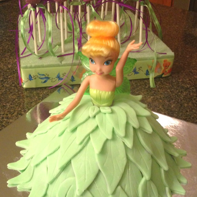 Tinkerbell cake with magic fairy wand cake pops