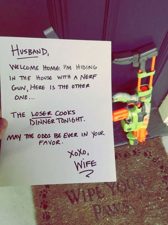 Sehr coole Notiz einer Ehefrau an ihren Mann um zu klären, wer das Abendessen kocht! (via Bilderparade)