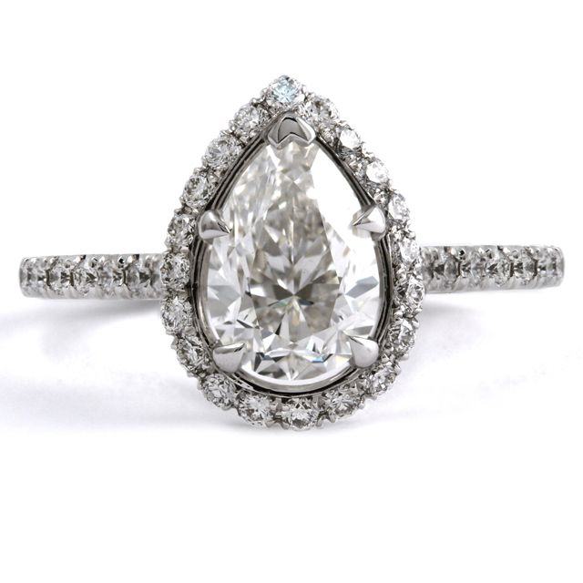 Pear Shape Diamond Engagement Ring    14k White gold Pear Shape Diamond Engagement Ring     Price available upon request