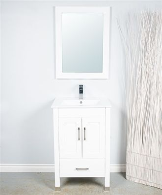 28' bathroom vanity with wood cabinetry and a single piece sink. Available in white, espresso and other colours. Includes mirror and faucet. Vancouver Company.