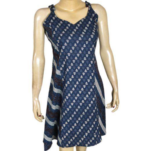 Amazon.com: Blue Cotton Sun Dress Casual Spaghetti Straps Flirty Size M Bust 32: Clothing