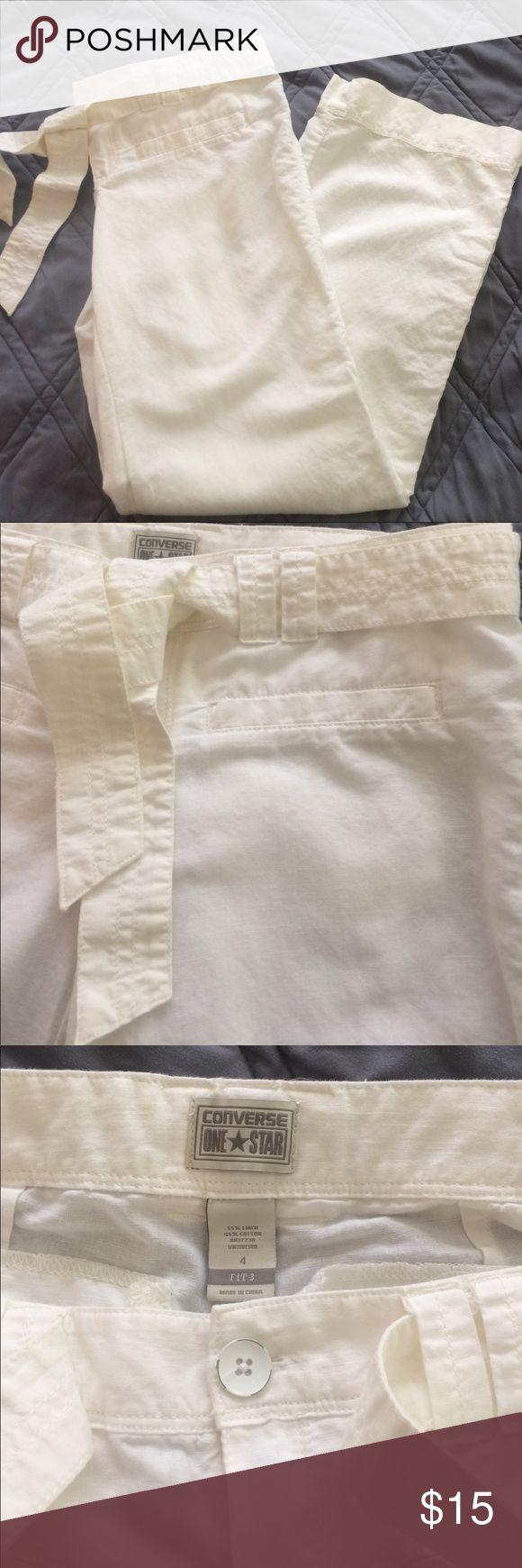 "White linen pants Converse One Star white linen pants with removable tie belt. 31"" inseam. Back pockets. 55% linen 45% cotton. Machine washable. Excellent condition. Converse Pants"