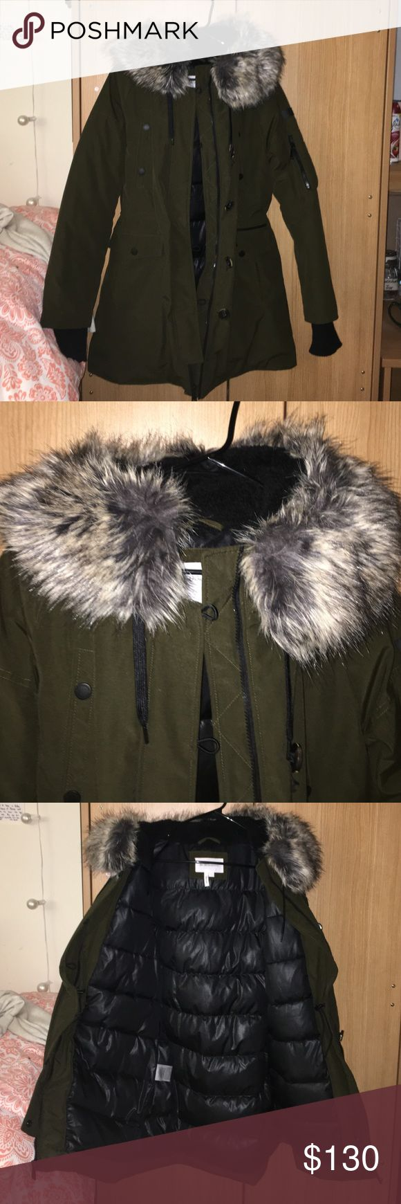 BCBG Puffer Coat Worn only twice!! Cost me a lot! But I lost weight. Super comfortable, keeps you very warm, has adjustable waist, A LOT of pockets, faux fur detail on hood which is removable, let me know if you have any questions :) this coat is beautiful!! BCBGeneration Jackets & Coats Puffers