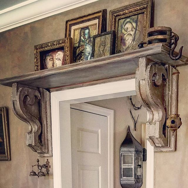 We painted these corbels and added a shelf above the doorway.  I am about to do this again above a mirror. #corbel #corbels #brackets #shelf #homesweethome #interiordesign #homedesign #homedecor #decoratingideas #decorating #antiques #diningroom #taupe #interiores #decorazioni #decorazione #homestyle #art#displayart #anstractart #pully #trolley #morish #vintage