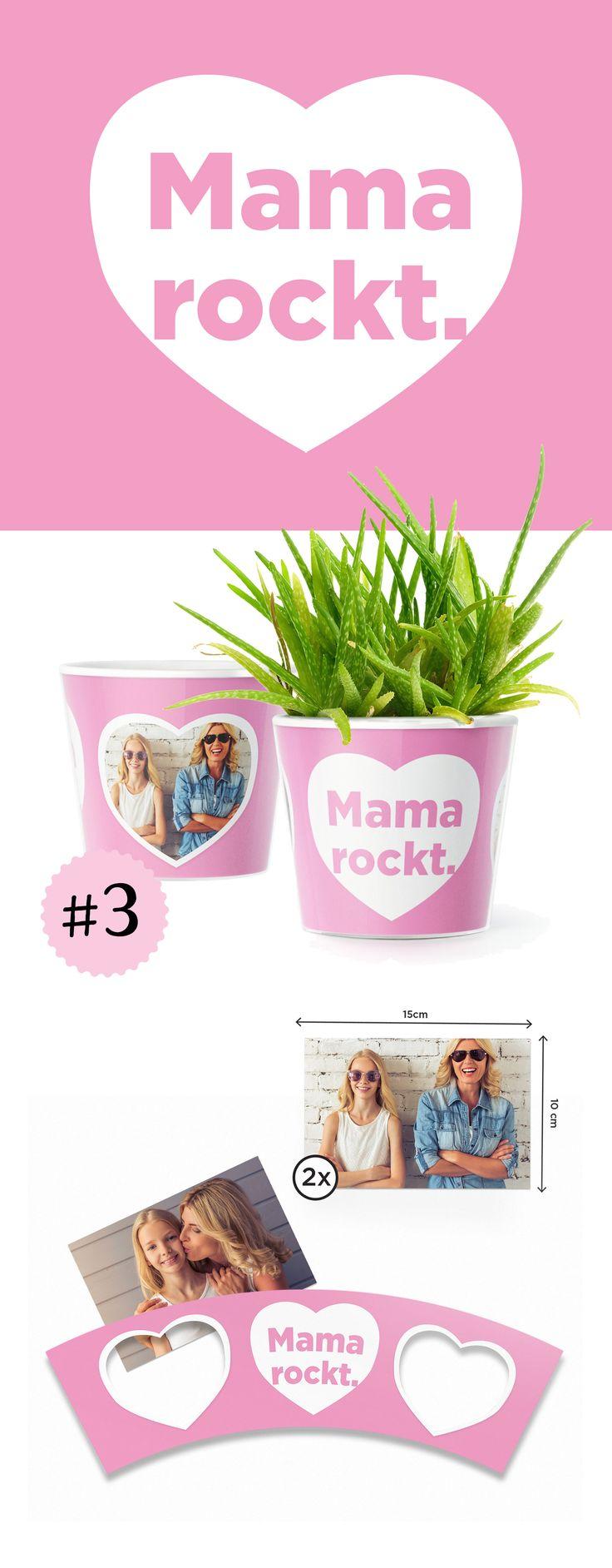 """3. Mama rockt. Ist deine Mama der Rockstar in eurer Familie?  Zeige es mit diesem rosa Blumentopf.  Mit zwei Fotos kannst du dieses Geschenk so individuell gestalten wie der Anlass, die Empfängerin oder oder Ort and dem der Topf mal stehen wird. Ein großes Herz mit der """"Mama rockt."""" Aufschrift schenkt deiner Mutter ganz sicher viele Lächeln.  Egal, wo Du Dich gerade auf der Welt befindest, mit MyFacepot kannst du bereits im Voraus das perfekte Geschenk für Deine Mutter finden und vorbereit"""