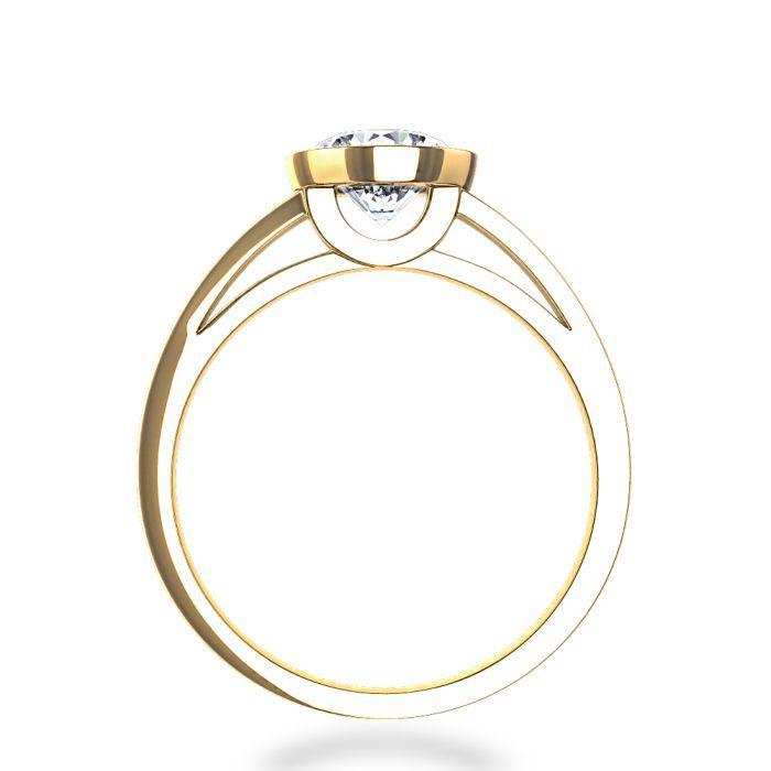bezel set engagement ring princess cut | Contemporary Bezel-Set Round Solitaire Engagement Ring in 14k Yellow ...