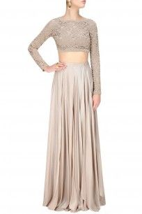 Sailex Silver grey beaded lace crop top and skirt