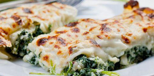 Κανελονια με σπανάκι και τυρί