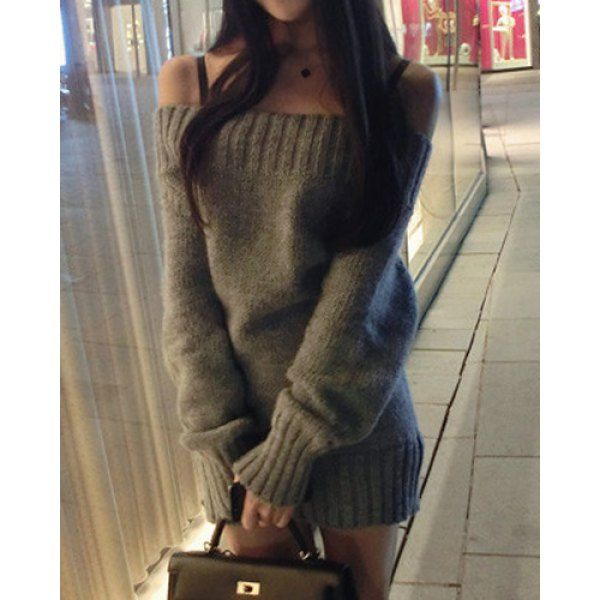 $14.84 Sexy Slash Neck Solid Color Packet Buttock Long Sleeve Women's Sweater Dress